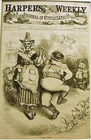 Mother Goose dances with Santa Claus (Thomas Nast)